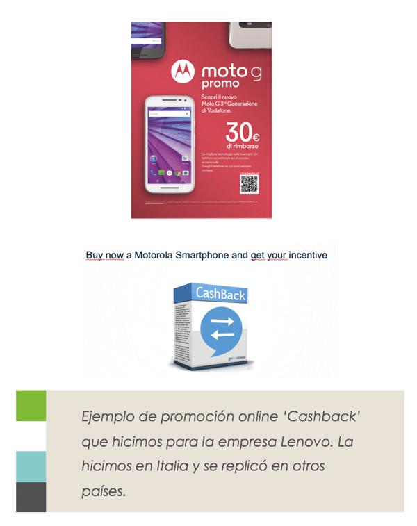 ejemplo promocion online cashback